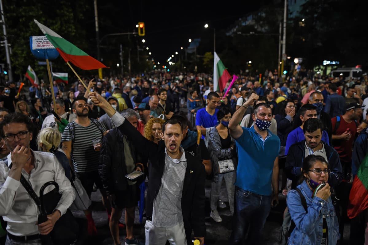 Mielenosoittajia kadulla, Bulgarian lippuja