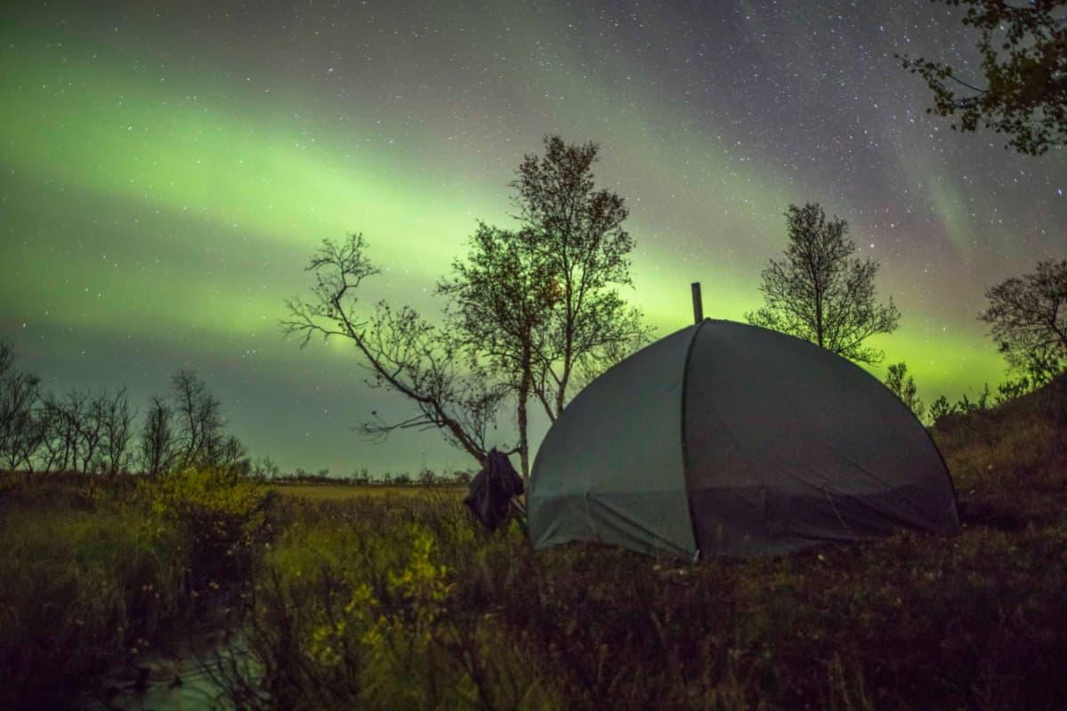 Revontulten alla on tunturiin pystytetty teltta