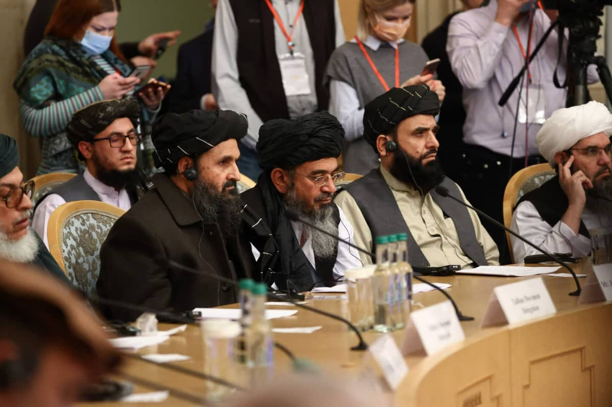 Taliban-liikkeen edustajia kansainvälisessä konferenssissa Moskovassa maaliskuussa 2021.
