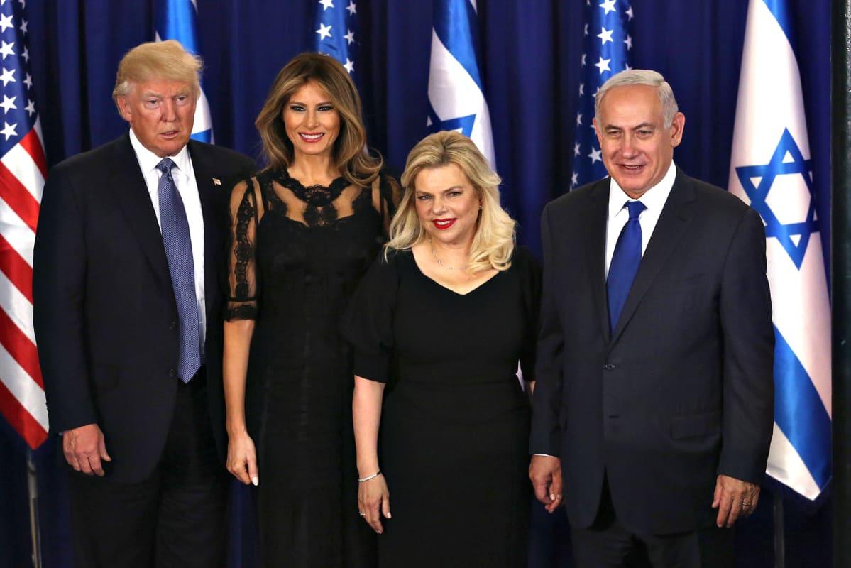 Donald Trump, Melania Trump, Sara Netanyahu ja Benjamin Netanyahu.