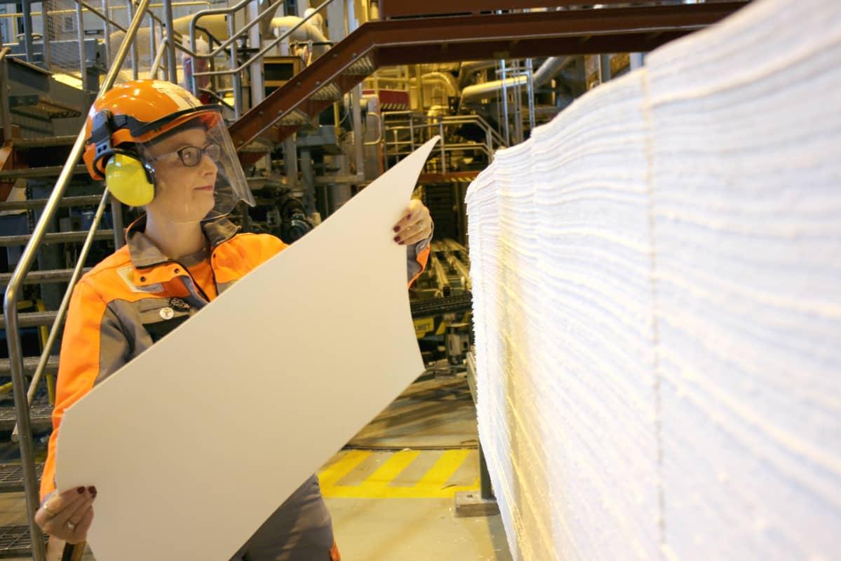 Stora Enson liukosellusta vastaava tekninen asiantuntija Sirpa Välimaa esittelee liukoselluarkkia Uimaharjun sellutehtaalla marraskuussa 2011.