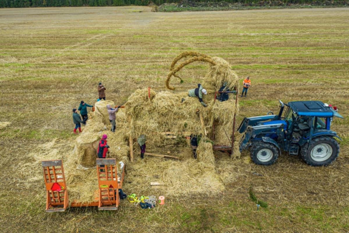 Olkipukkia rakennetaan pellolle Tervossa