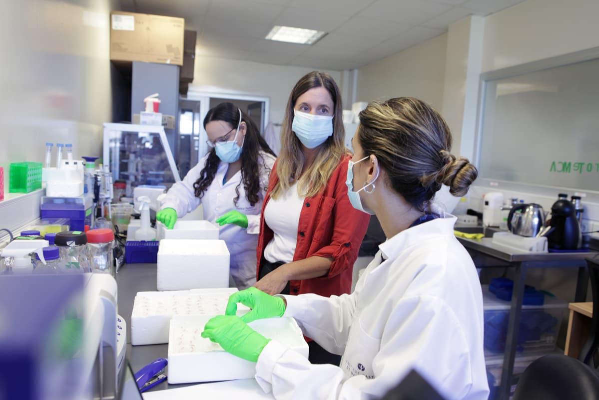 Virologi Pilar Moreno (kesk.) jutteli Paula Perbolianachisin (vas.) ja Mercedes Pazin kanssa Pasteur-instituutin laboratoriossa Montevideossa.
