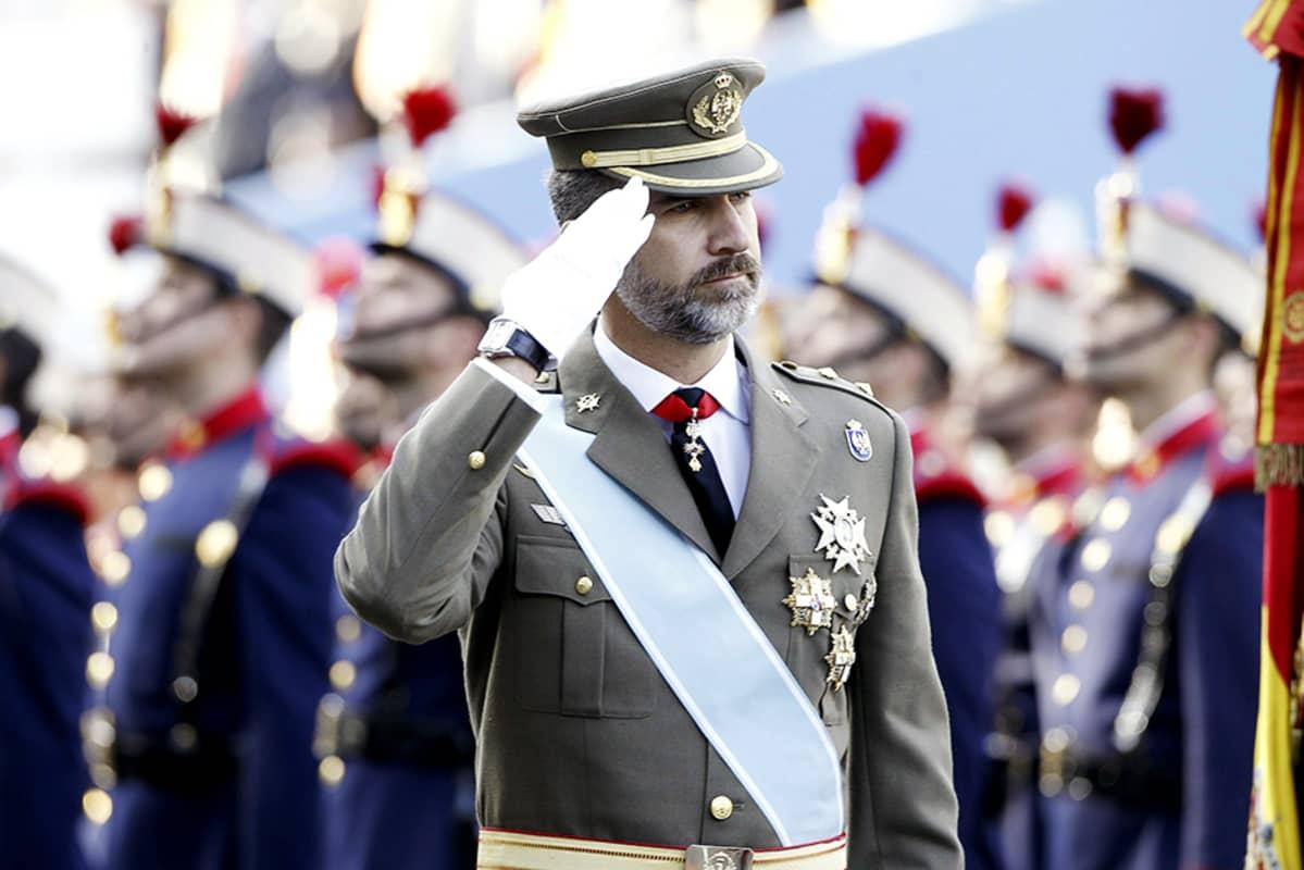 Espanjan kruununprinssi Felipe osallistui kansallispäivän paraatiin Madridissa 12. lokakuuta.