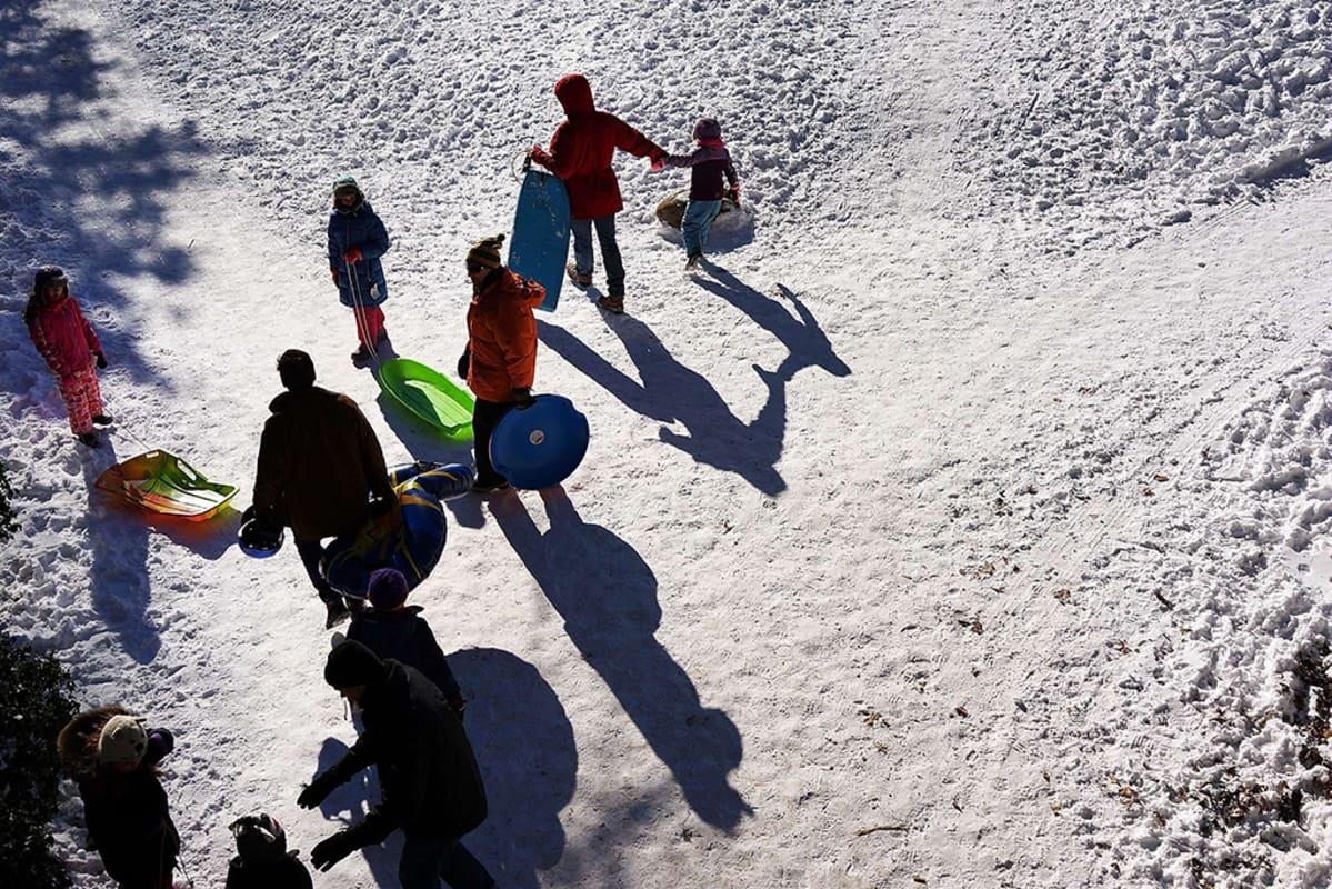 Lapsia aikuisten kanssa on menossa pulkkamäkeen New Yorkin Prospect Park:iin lumimyrskyn jälkeen.