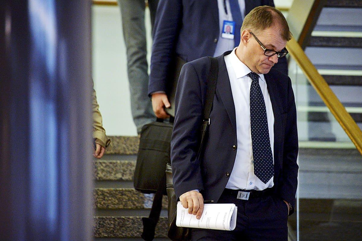 Juha Sipilä portaissa.