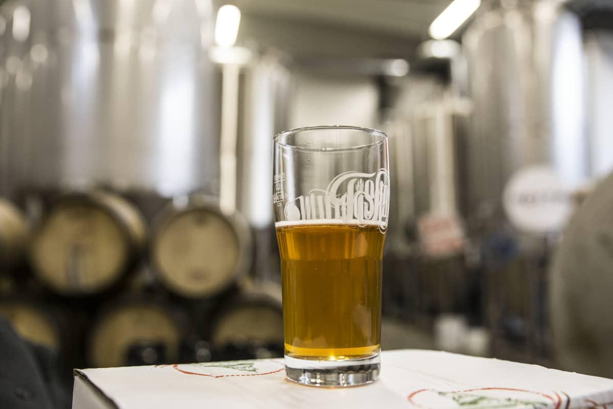 Tuoppi olutta Fiskarsin panimolla.