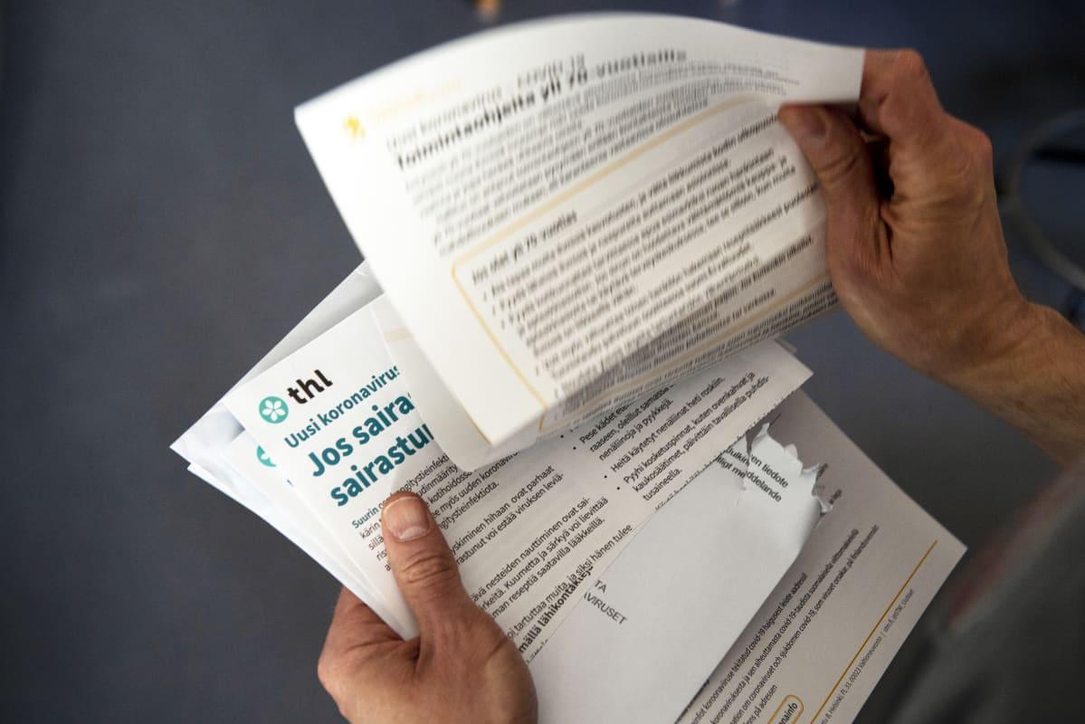 THL:n koteihin lähettämä koronavirukseen liittyvä ohjekirje.