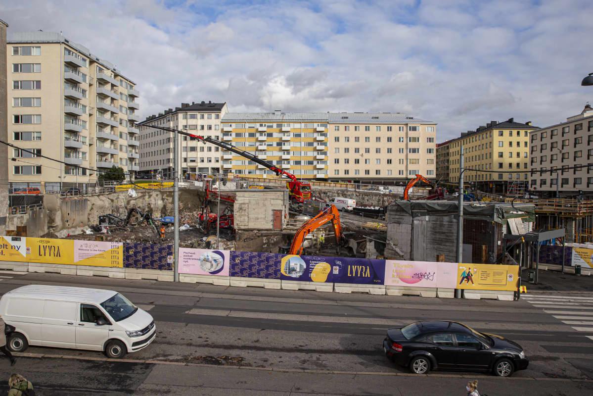Rakennustyömaa Helsingin Kalliossa.