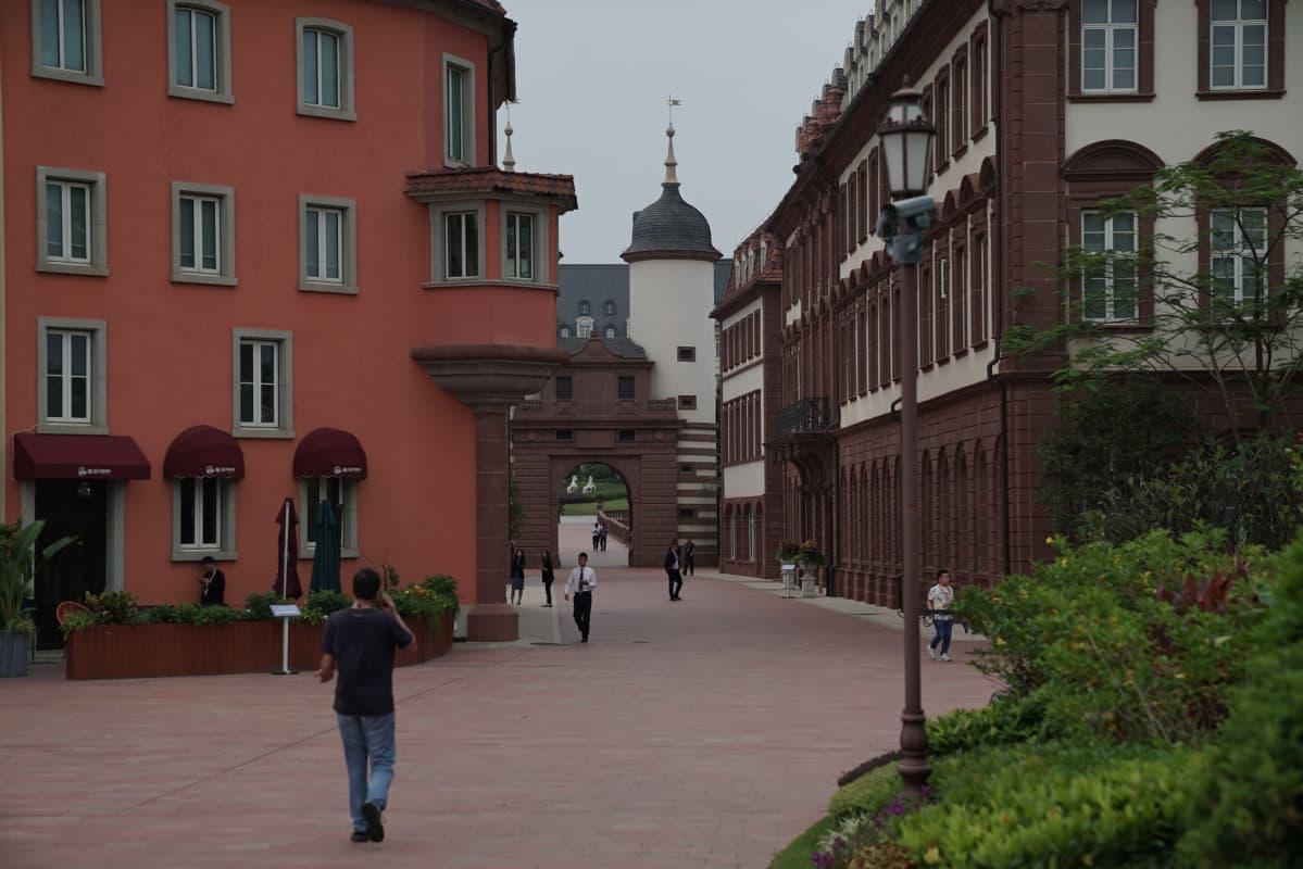Vanhan Heidelbergin mallin mukaan rakennettua katua