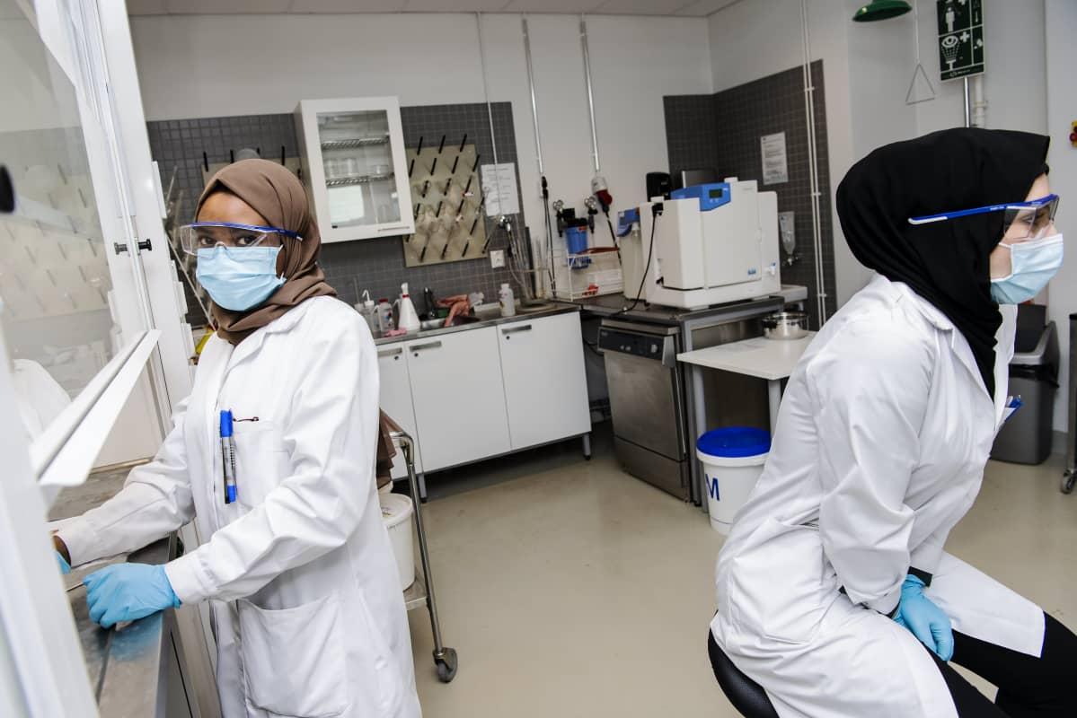 Fatma Goma valmisti biodieseliä, Shams Al-Rifaie seurasi sivusta.