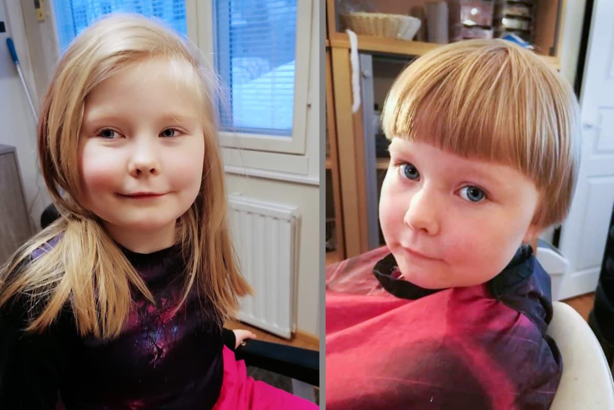 Ronja lehto pitkähiuksisena ennen hiustenleikkuuta ja sen jälkeen.