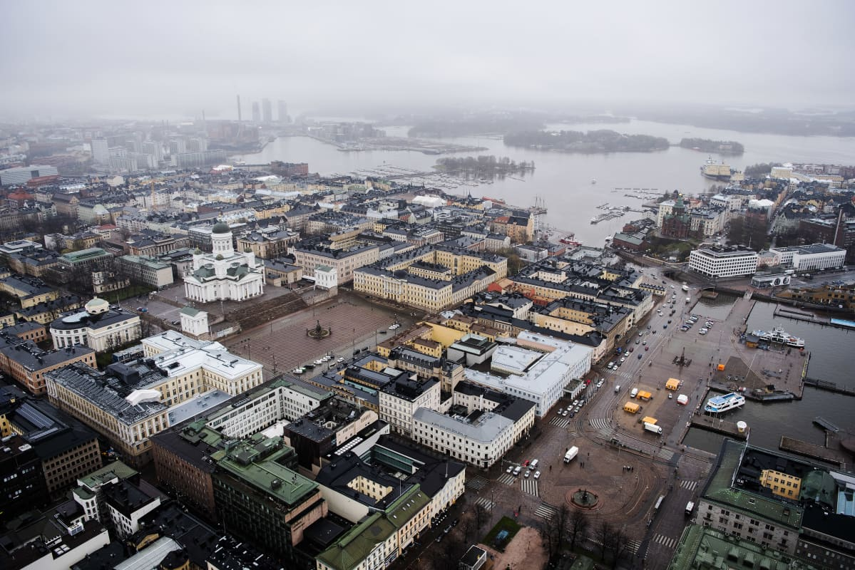 Ilmakuvassa on Helsingin Senaatintori toukokuussa 2021.