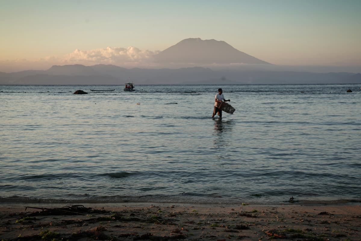 Balin Agung -tulivuori rannasta nähtynä.