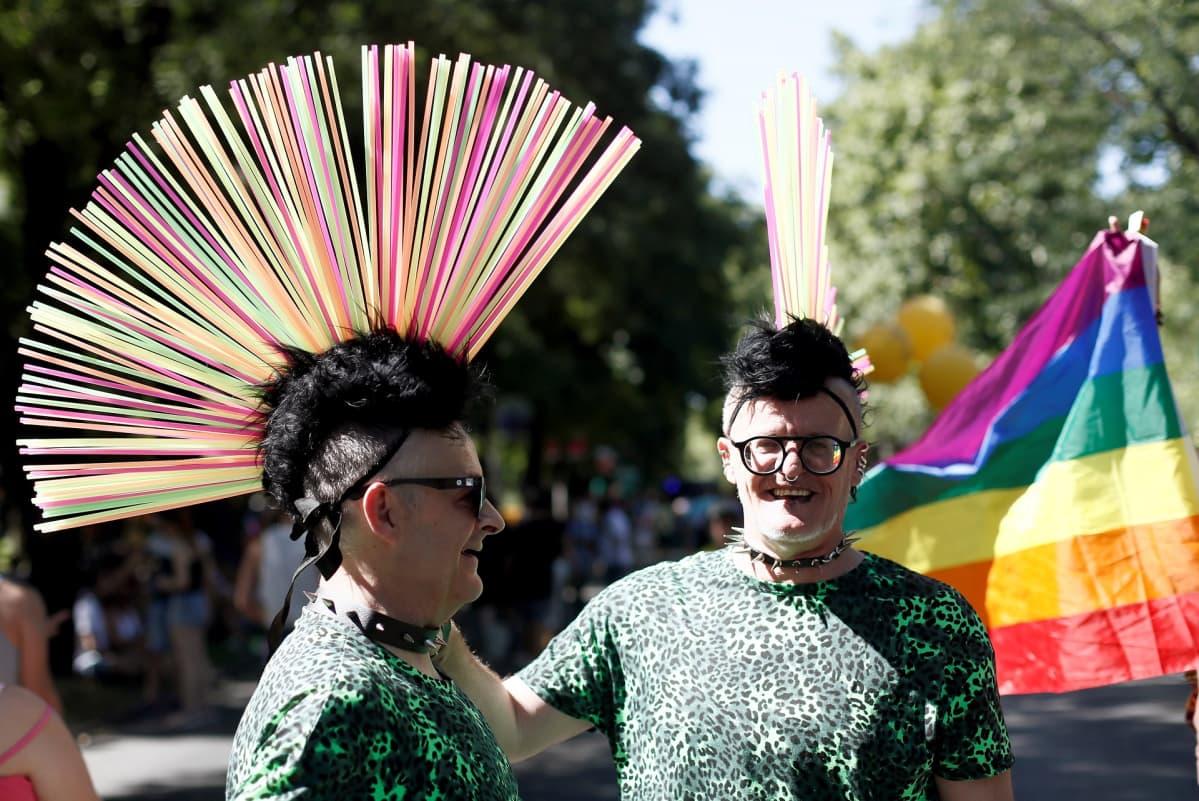 Kaksi ihmistä värikkään irokeesit päässään.