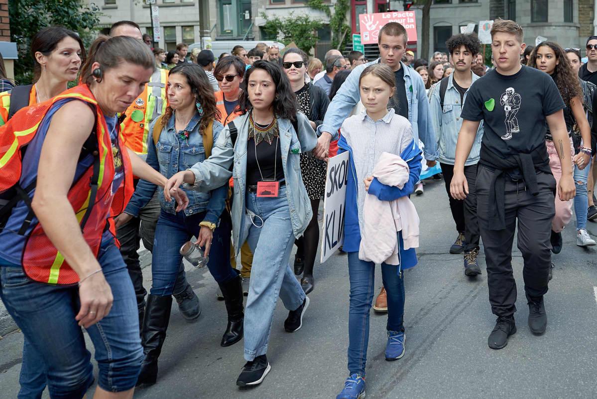 Greta Thunberg ilmastomarssilla Montrealissa