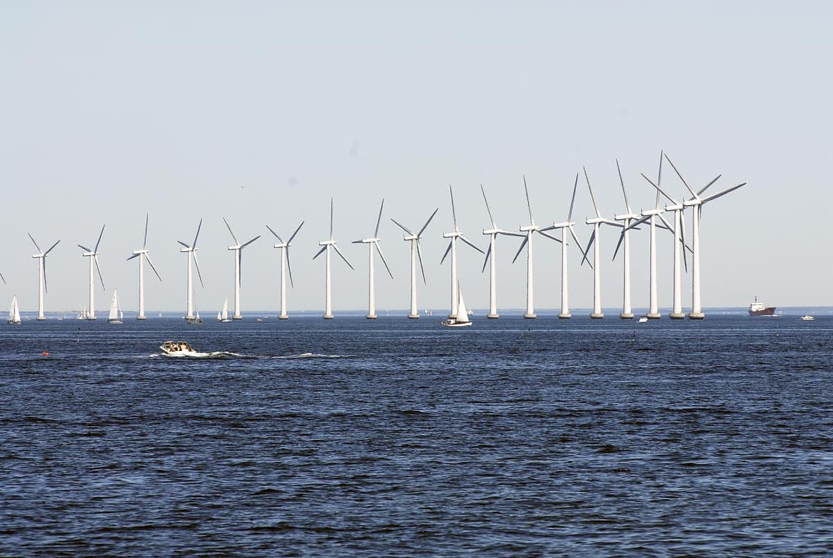 Tuulivoimapuisto merellä Kööpenhaminan lähellä.