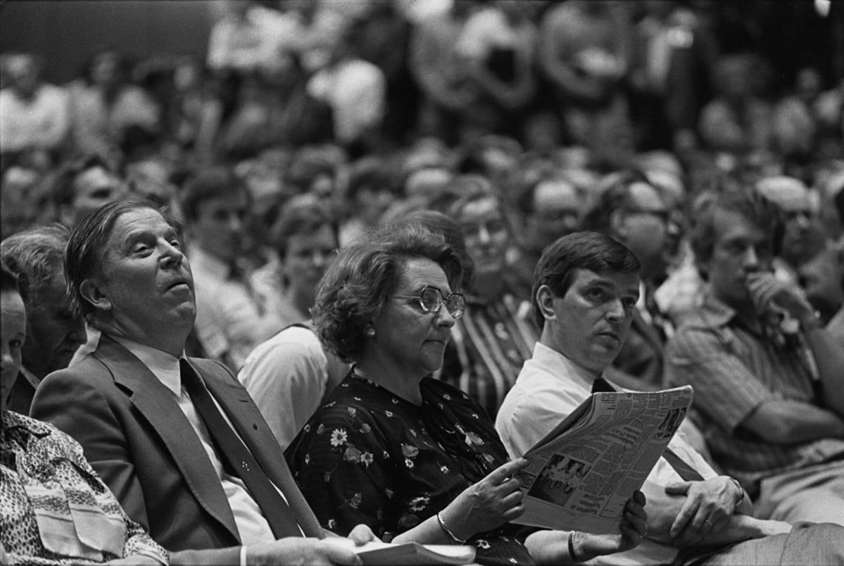 Johannes Virolainen, Marjatta Väänänen ja Paavo Väyrynen keskustan puoluekokouksessa Turussa kesällä  1980.
