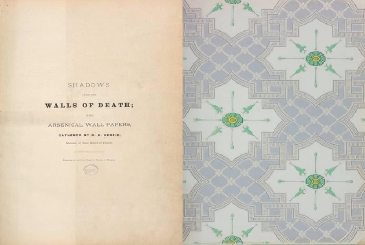 Kirjan ensimmäinen aukeama, vasemmalla nimilehti, oikealla tapettia, jossa on vihreitä kukkakuvioita.