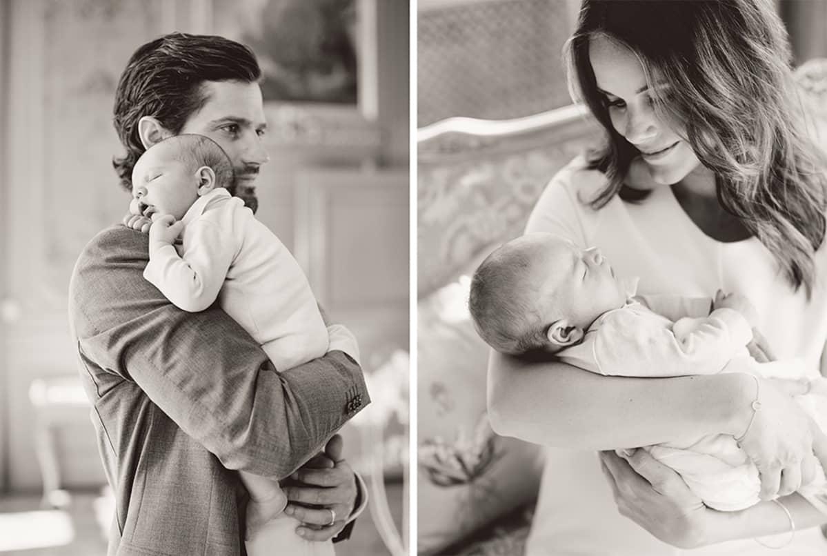 Kollaasi pikkuprinssistä vanhempiensa kanssa.