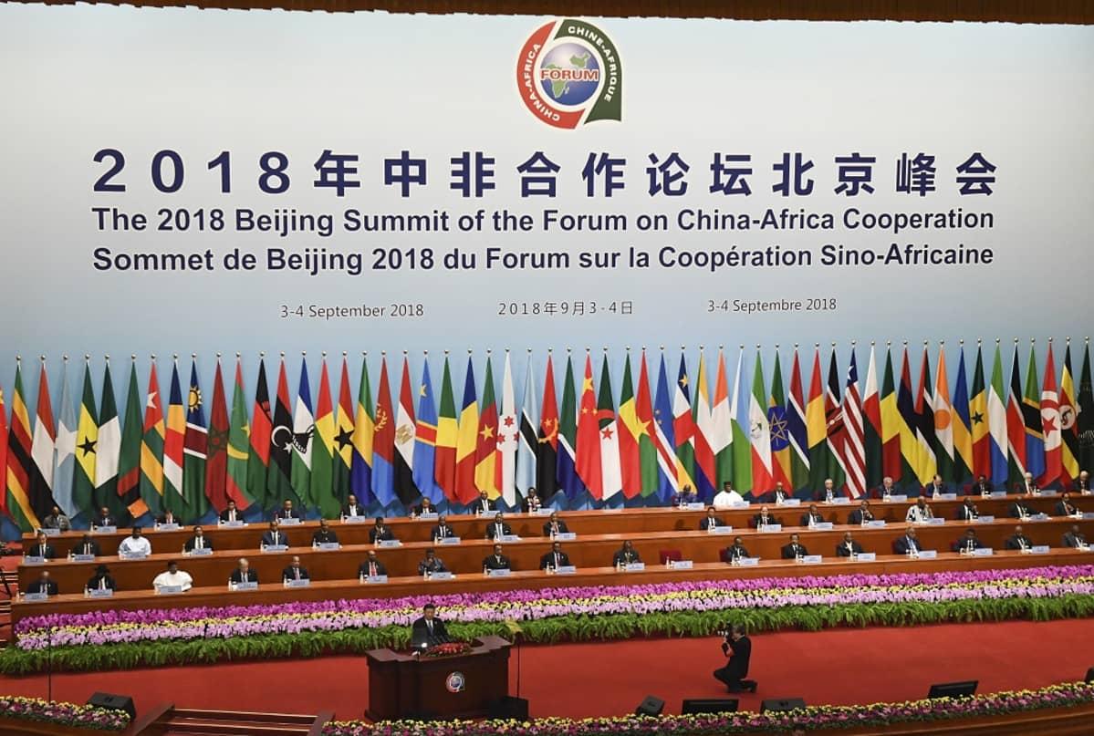 Kuvassa puhujanpöntössä Kiinan presidentti Xi Jinping. Hänen takanaan Afrikan maiden johtajia. Taustalla Afrikan maiden lippuja ja keskellä Kiinan lippu.