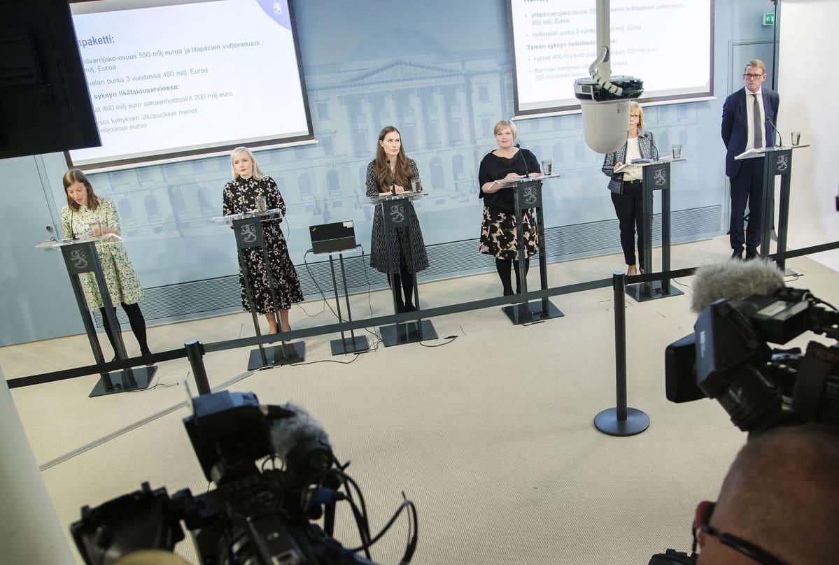 Li Andersson, Maria Ohisalo, Sanna Marin, Annika Saarikko, Anna-Maja Henriksson ja Matti Vanhanen.