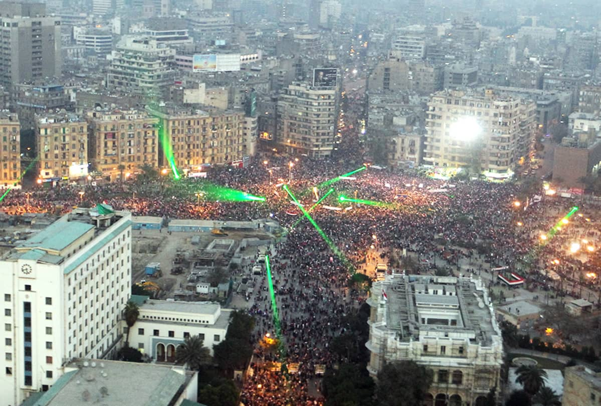 Näkymä Tahririn-aukiolle Kairossa 25. tammikuuta, kansannousun vuosipäivänä.