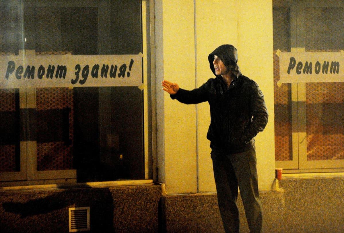 Tom Cruise Mission Impossible IV -elokuvan kuvauksissa Prahassa vuonna 2010..