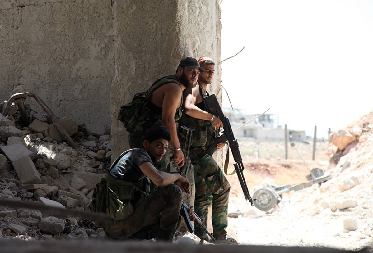 Syyrian armeijan sotilaita Aleppossa heinäkuussa.
