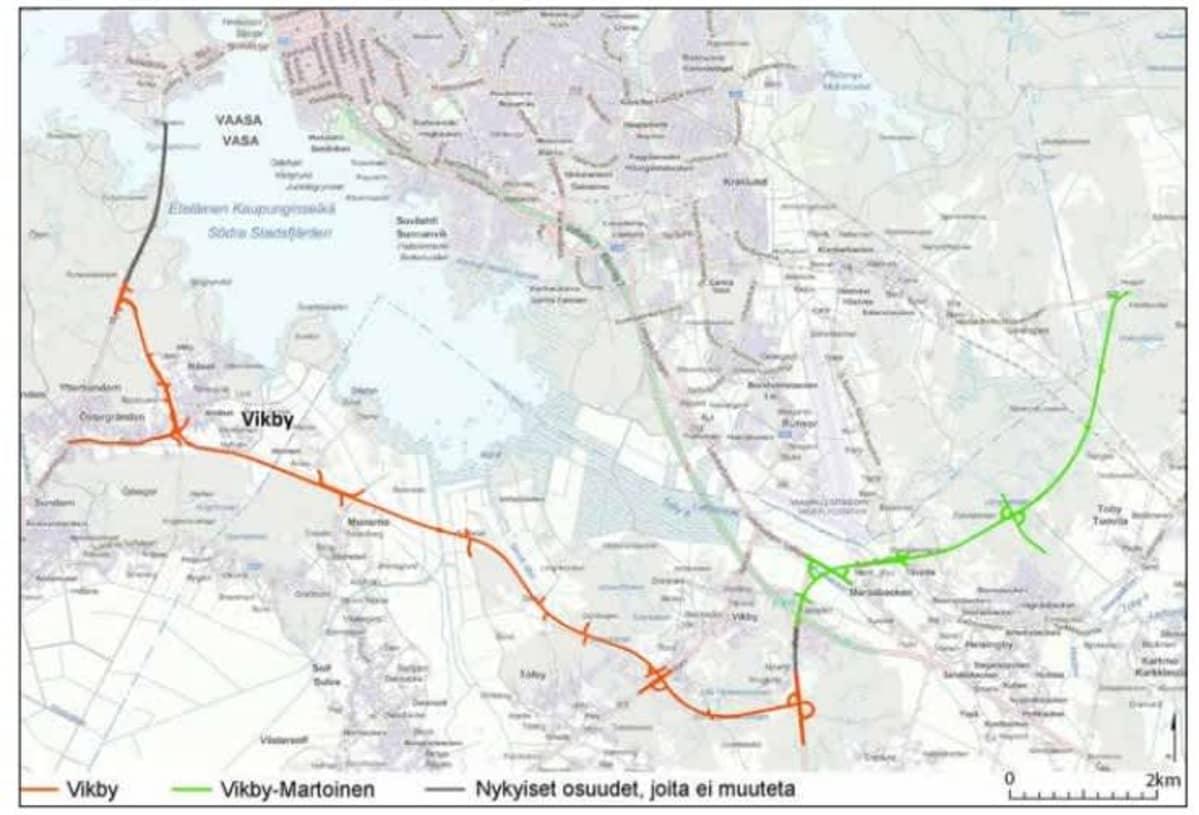 Kartta, jossa näytetään Vikbyn reitti uudeksi Satamatieksi Vaasaan