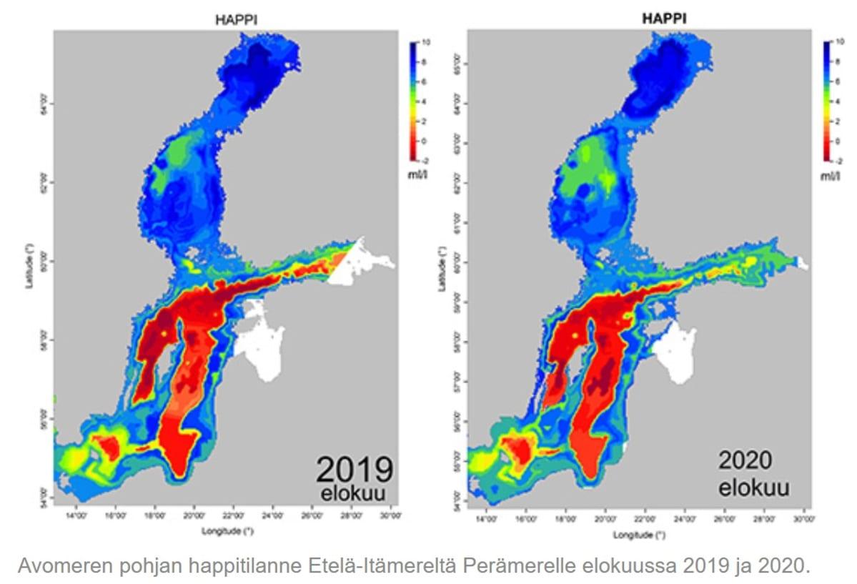 Itämeren pohjien happitilanne 2019  ja 2020