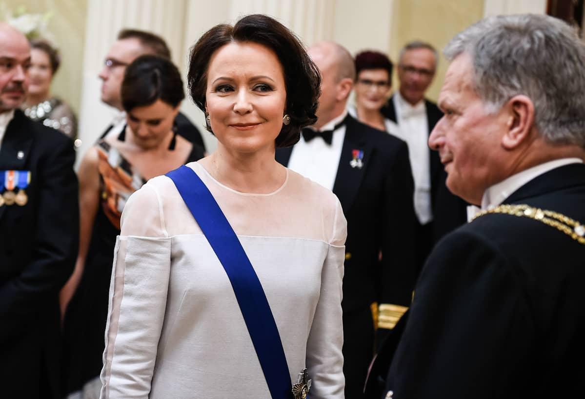 Kuvassa Jenni Haukio itsenäisyyspäivän juhlavastaanottona 2018 Presidentinlinnassa.