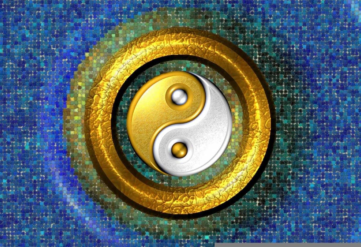 Tietokonemosaiikkina toteutettu sinikeltainen jin ja jang -symboli.