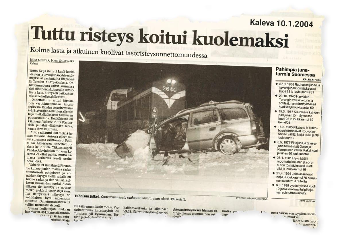 """Lehtileike 10.1.2004 julkaistusta Kalevan jutusta """"Tuttu risteys koitui kuolemaksi"""""""