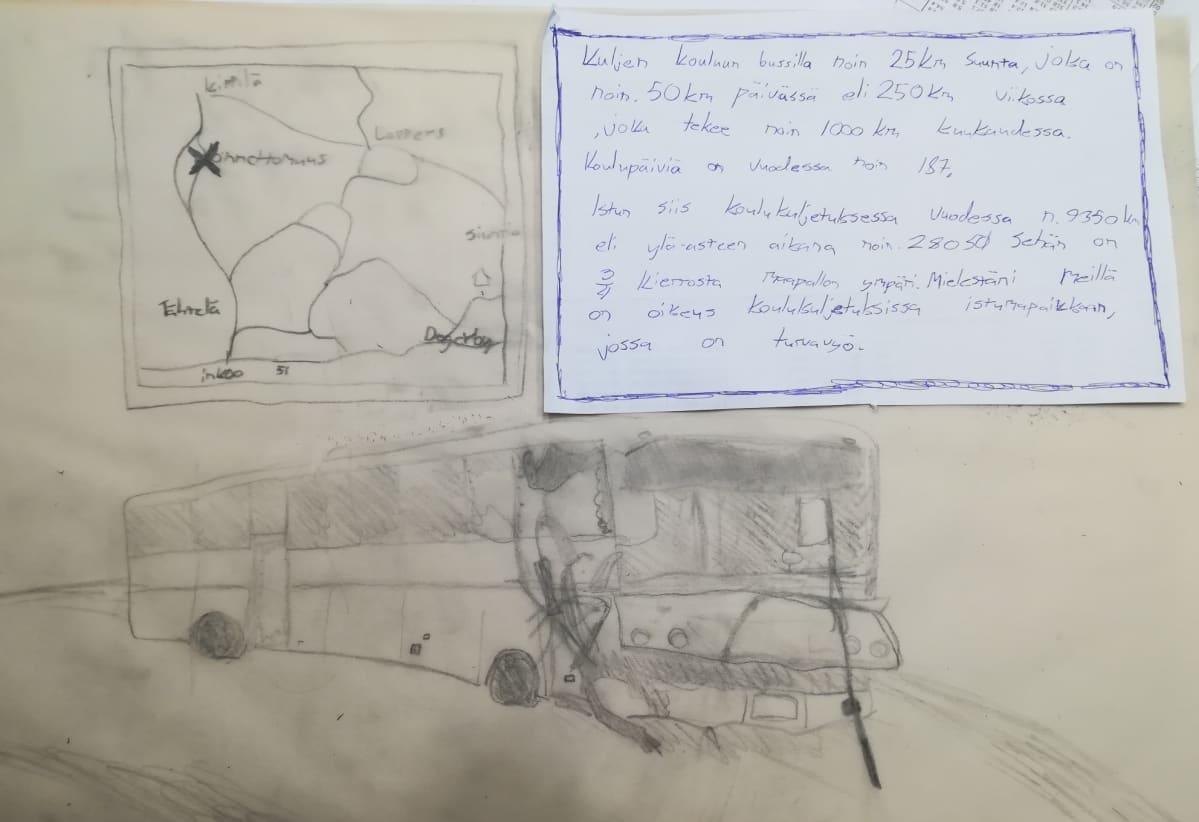 Henrik von Wendtin poika teki piirroksen onnettomuusbussista ja kolaripaikasta kotikoulupäivänsä aikana.
