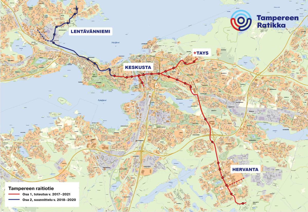 Kartta Tampereen raitiotien rakentamisesta