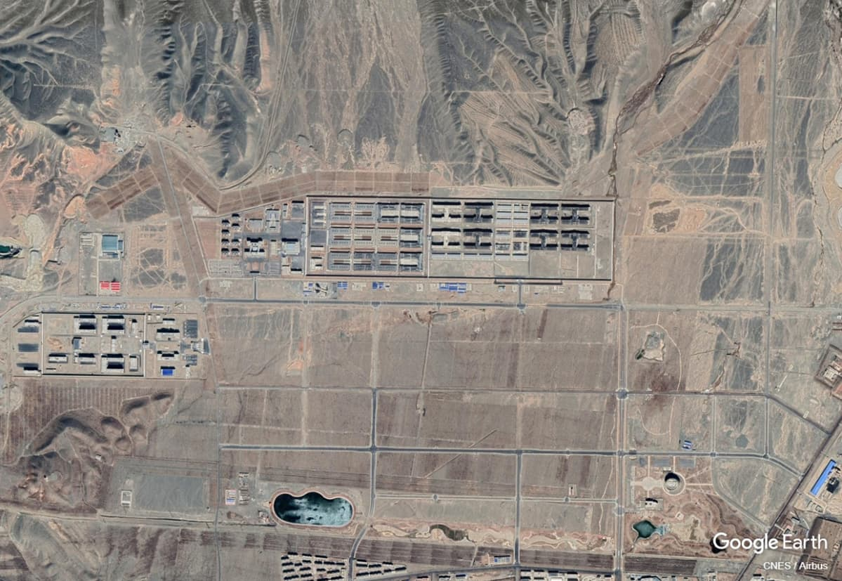 Sateliittikuva vankila-alueesta Kiinassa.
