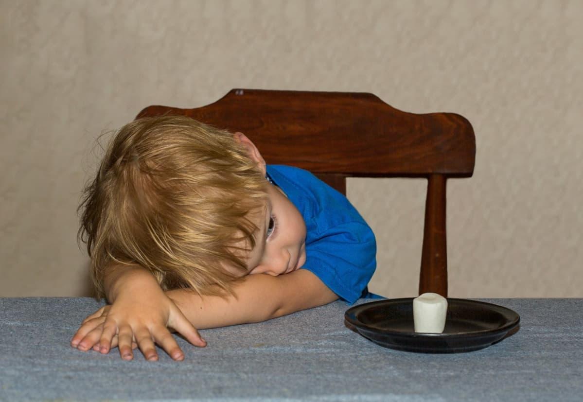 Pikkulapsi nojaa pöydän ääressä käsivarsiinsa. Edessä lautasella on vaahtokarkki