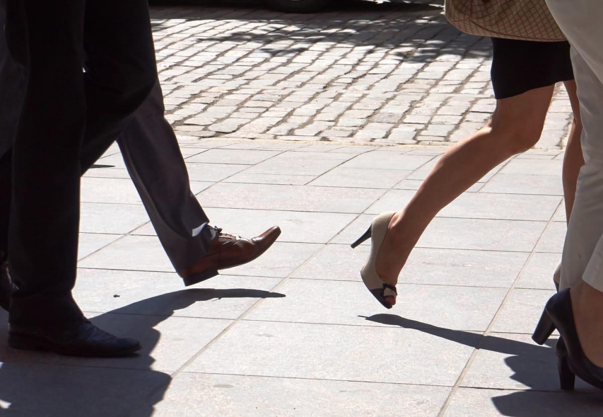 Anonymous pedestrians.
