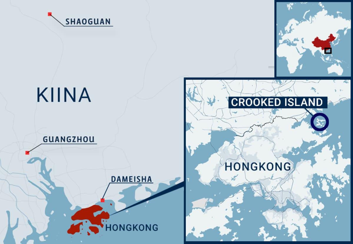 Kartta, jossa Hongkong, Crooked Island, Kiinaa