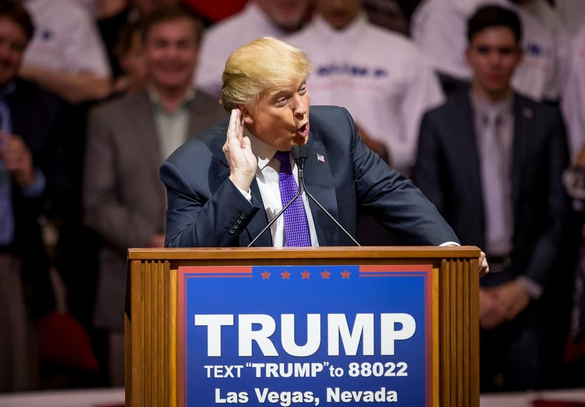 Donald Trump kampanjoi helmikuussa Las Vegasissa.