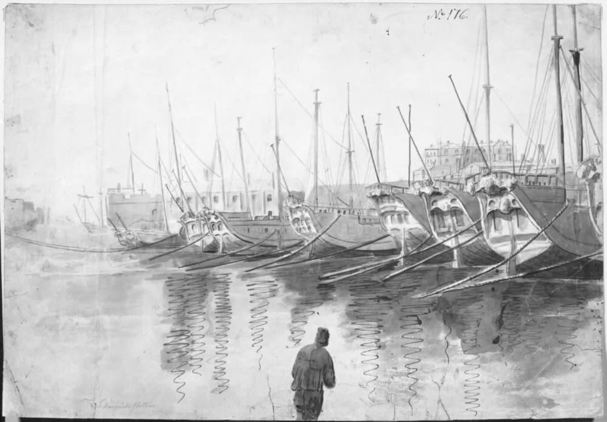 "Elias Martinin maalaus The Swedish ""Archipelago-fleet"" at Sveaborg."