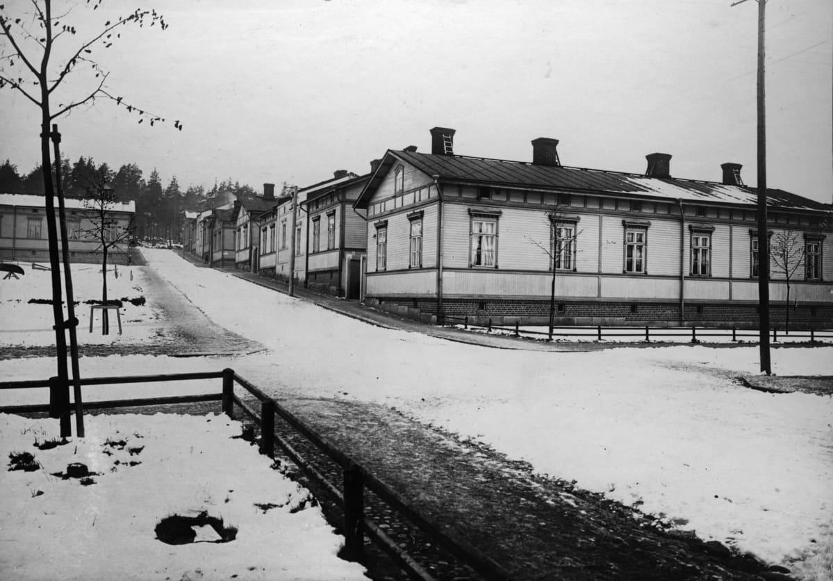 Puuvillatehtaankadun länsipää vuonna 1913. Mustavalkoinen kuva otettu talviaikaan, mutta lunta on vain vähän. Katua reunustavat työväen puukorttelitalot.