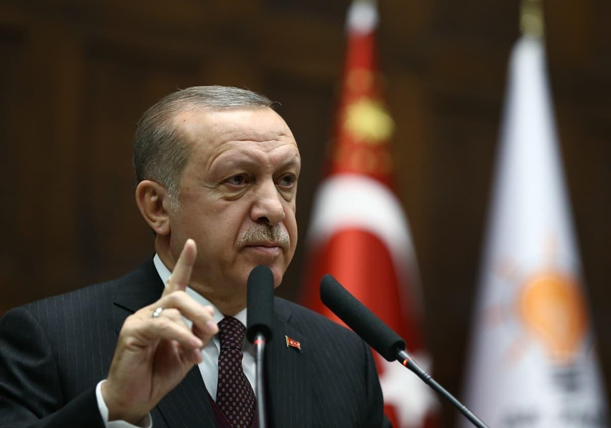 Erdoğan puhuu puhuu mikrofoneihin sormi opettavaisesti pystyssä. Hänellä on harmaa puku, punainen pilkullinen kravatti. Taustalla näkyy lippuja.