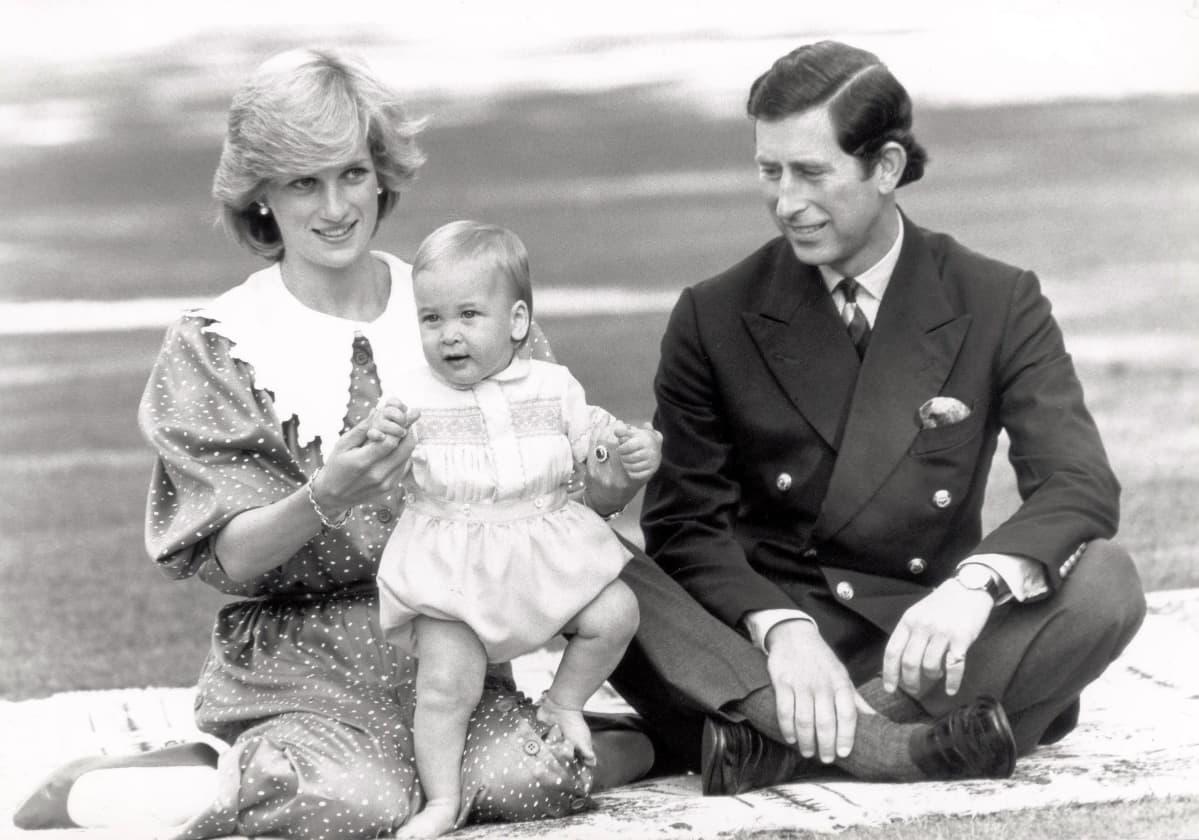 Prinsessa Diana, prinssi Charles ja prinssi William viltin päällä.