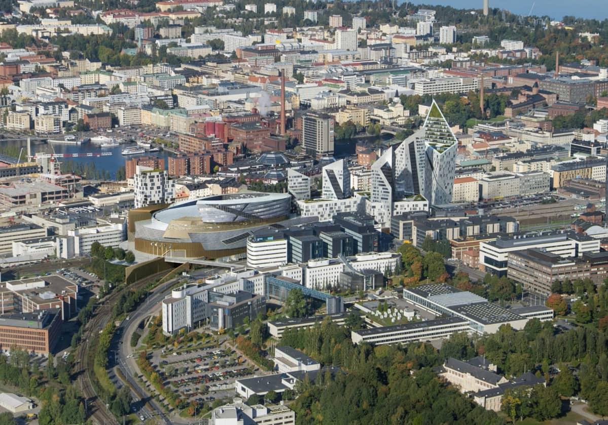 Havainnekuva Tampereen Kansi ja Areena -hankkeesta