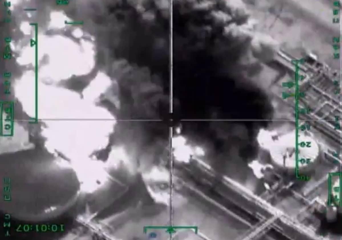 Venäjän puolustusministeriön satelliittikuva Syyrian pommituksista