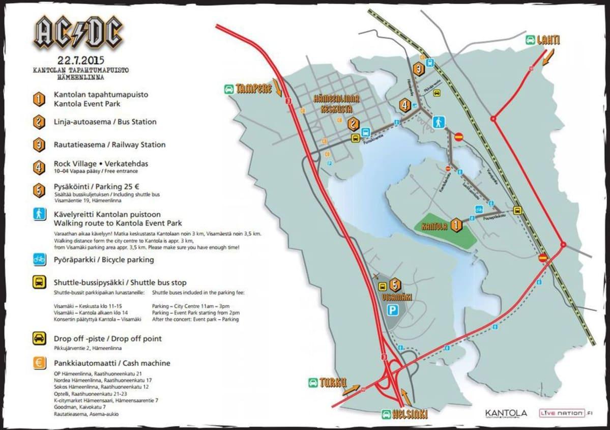 AC/DC:n konserttialueen kartta Hämeenlinnassa