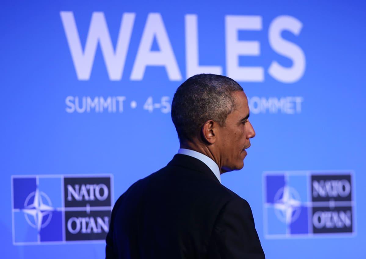 Yhdysvaltain presidentti Barack Obama NATOn kokouksessa Walesissa 5. syyskuuta 2014.