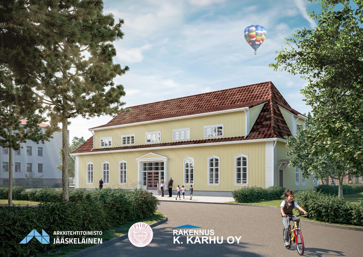 Tältä tulee näyttämään kesällä 2020 valmistuva Kauppalantalo, johon Steinerkoulu asettuu.
